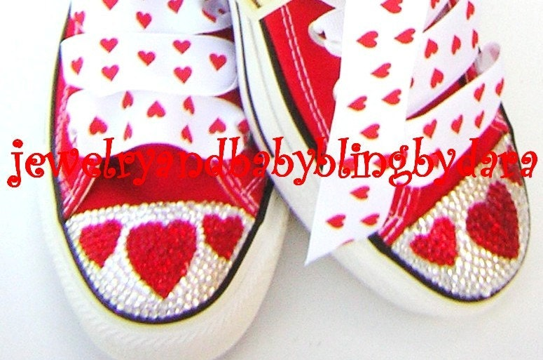 Swarovski Crystal Bling RED HEART Adult Teen Bling Converse Red Chuck Taylor ...