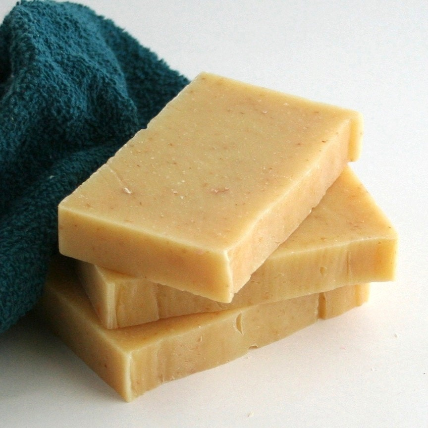 Olive Oil Soap, Bed and Breakfast, Spice and Citrus Scented, Oatmeal, Exfoliating, Vegan, Cold Process, Warm Gold Color, FREE SHIPPING - MikeandDianeSoap