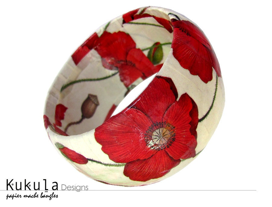 Paper mache bangle - Poppy, floral print