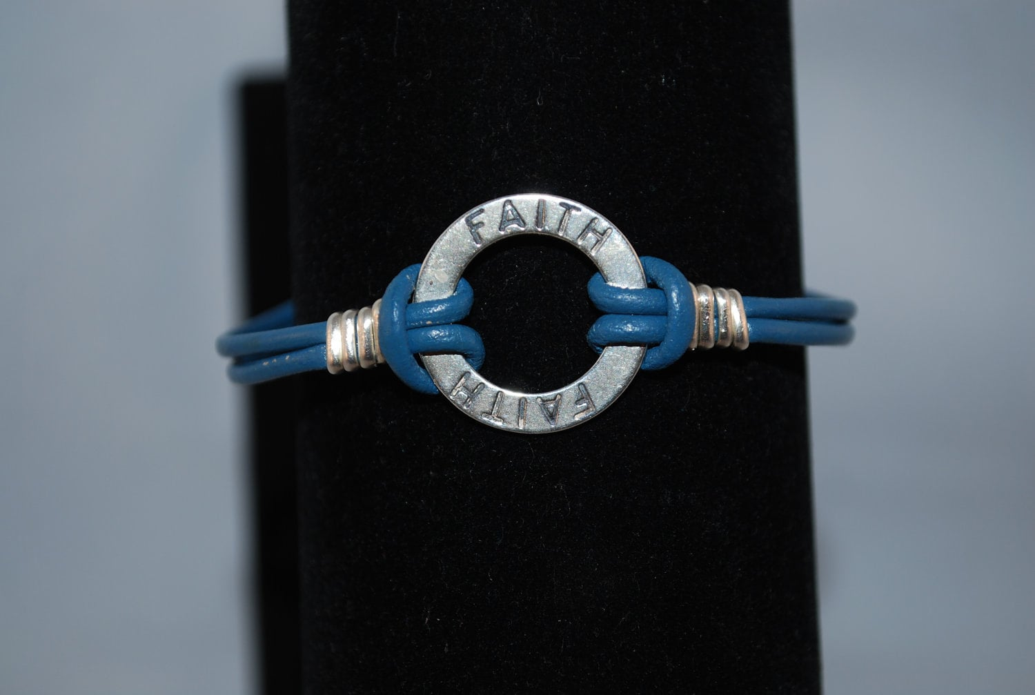 "Blue Leather "" Faith""   Bracelet"