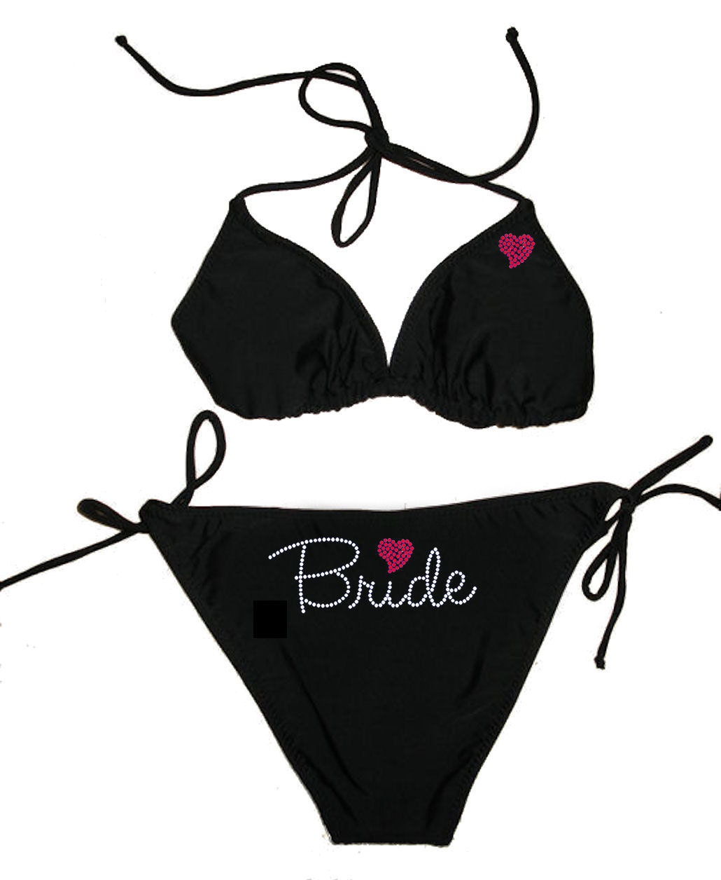 Custom Bikini - Bride Bikini with Rhinestone Heart - Honeymoon Bikini - I Do ...