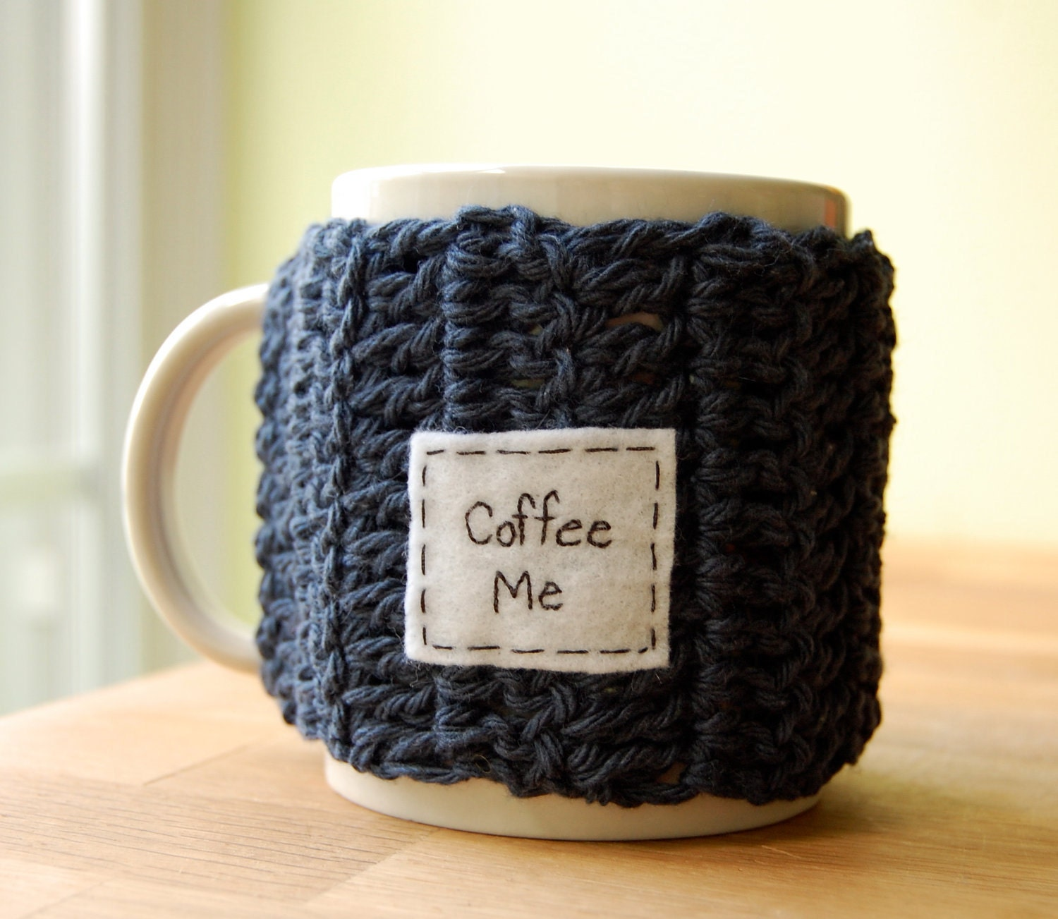 Coffee Me Mug Cozy Denim Crocheted Java Cup Cosy - Made to Order