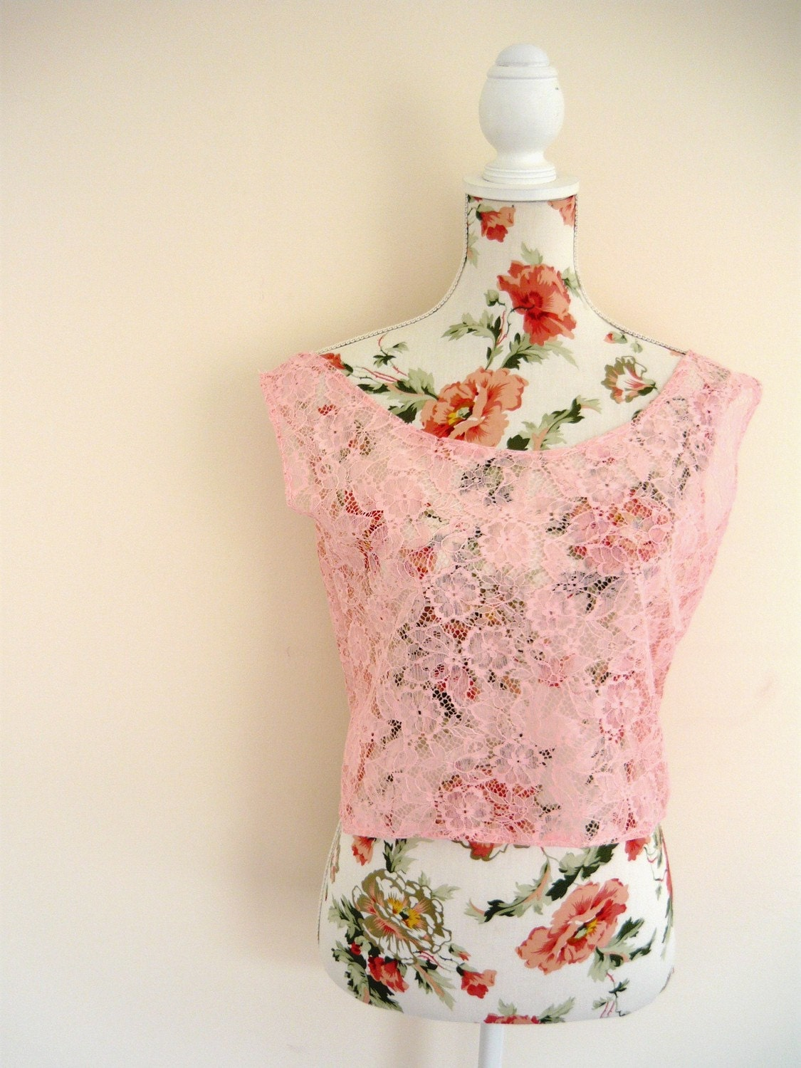 Handmade Pretty Pink Floral Lace Crop Top