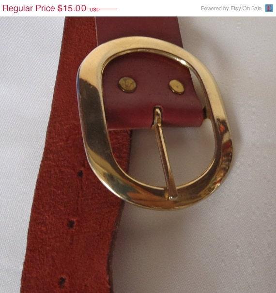 Vintage Eyelet Dark Earthy  Red Leather Belt Gold Tone Buckle
