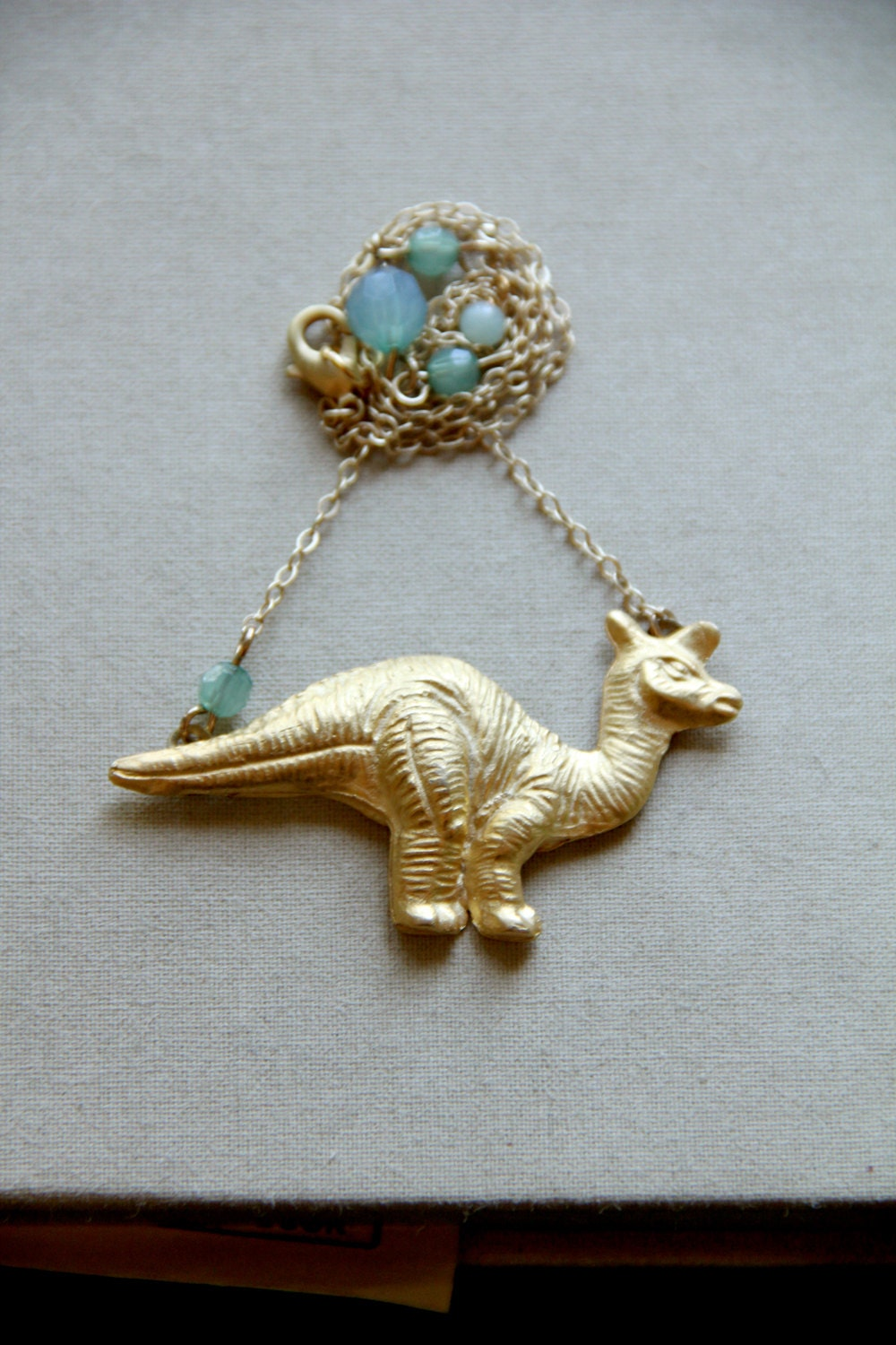 Herbivore - Vintage Dinosaur Brooch Necklace