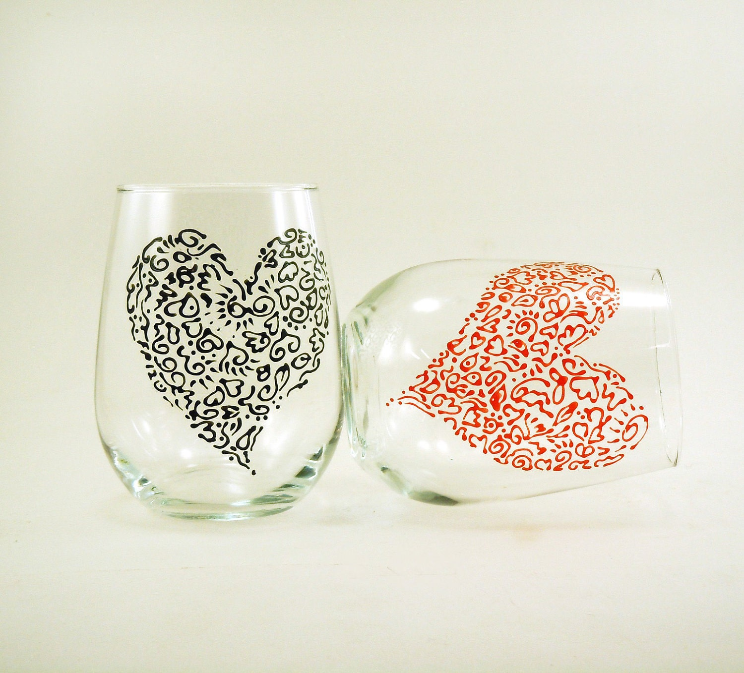 Valentine stemless wine glasses - Set of 2 - Hand painted white wine glasses - VALENTINE SALE, use coupon below