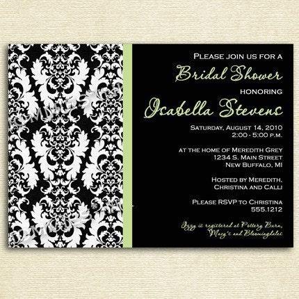 Damask Border with Black Background Bridal Shower Invitation PRINTABLE