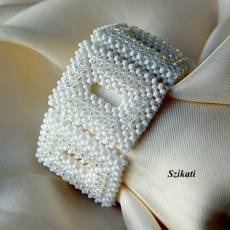 Beaded white bracelet, elegant, unique design, OOAK