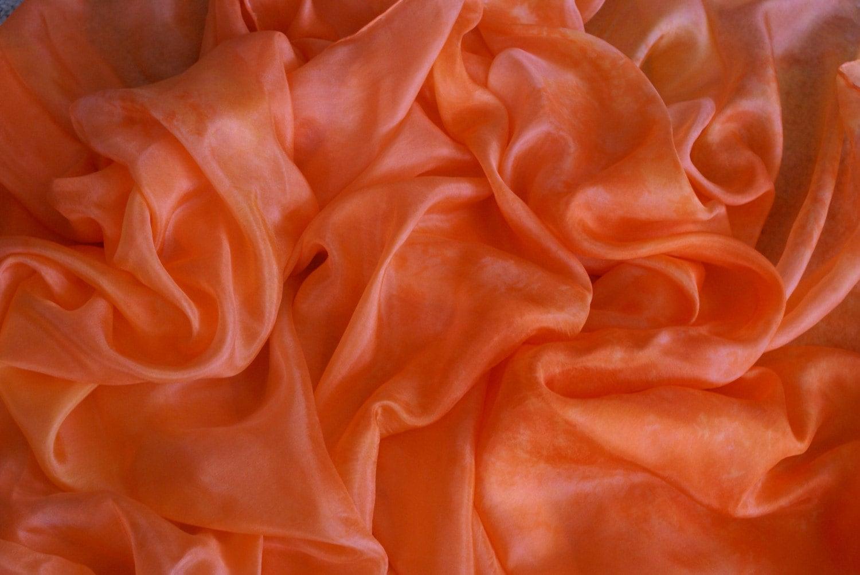 Tangerine Orange Silk Belly Dance Veil