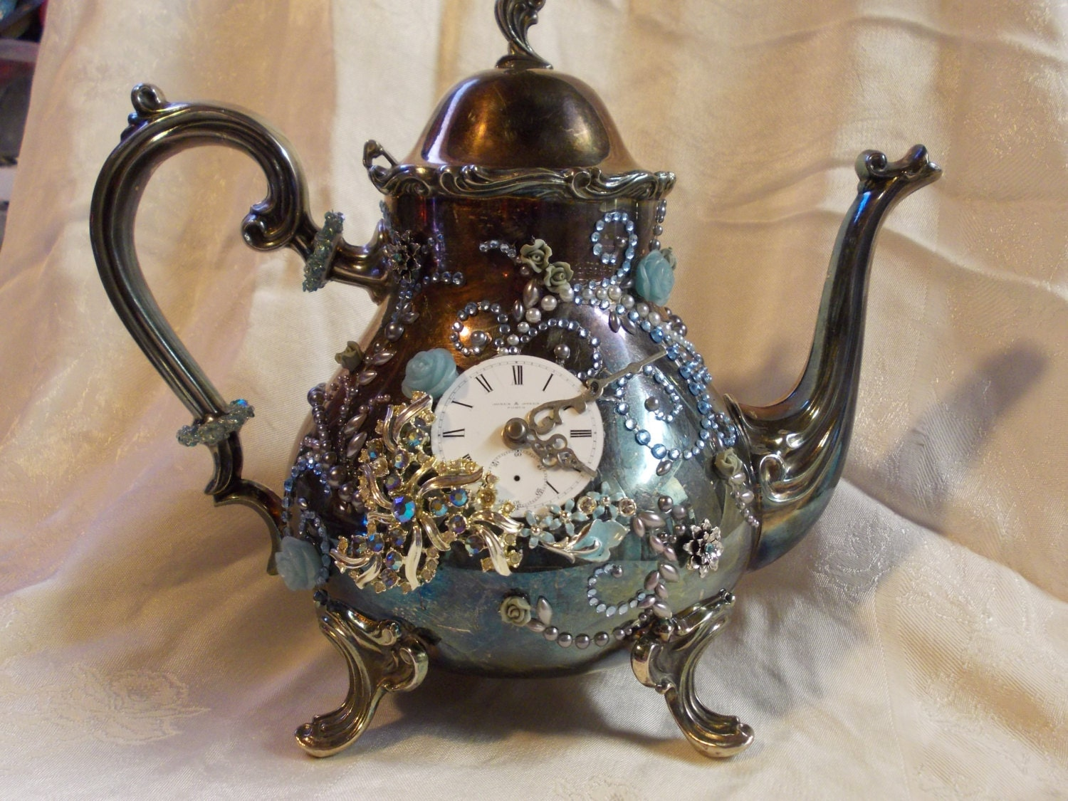 Taking Tea With The Queen- Steampunk Jeweled Teapot