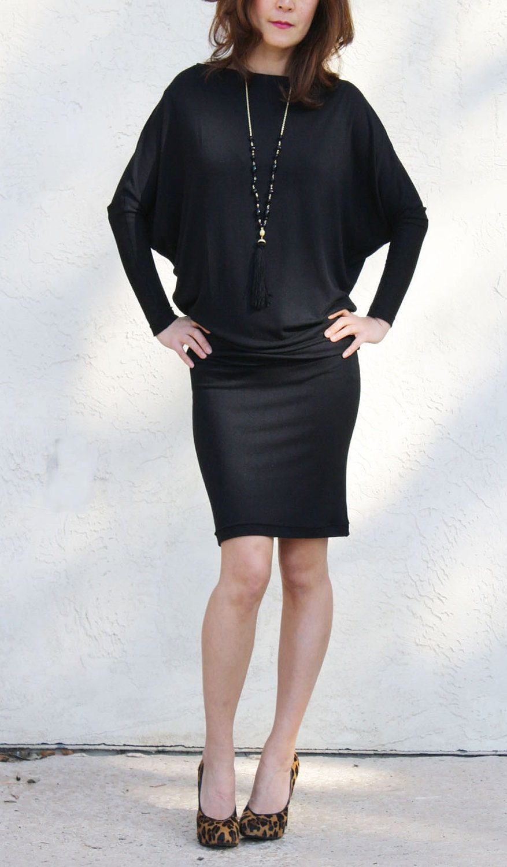 Boatneck Dolman Dress- Black modal
