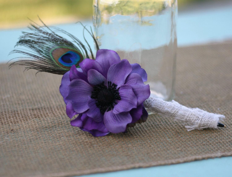 Сельский Chic Vintage Glamour Вдохновленный Павлин Барлеп перо и фиолетовые Anemone Гостевая книга Pen