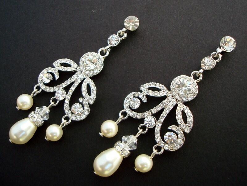 AURORE Ivory Swarovski Pearls with Rhinestones Chandelier Earrings