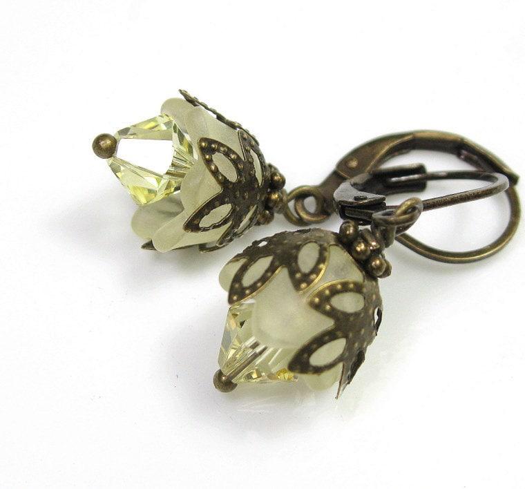 Lemon Gumdrop, Flower Earrings, Vintage Style Jewelry, Yellow, Swarovski
