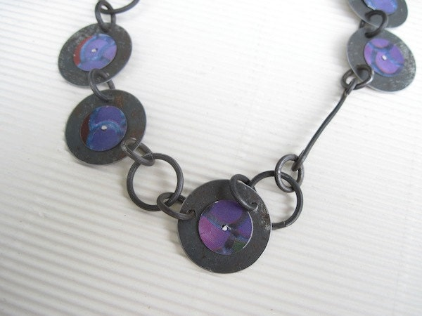 Necklace: Mixed Metal Disc -Purple Necklace- Recycled Tin- Long Necklace- Handmade Steel Chain