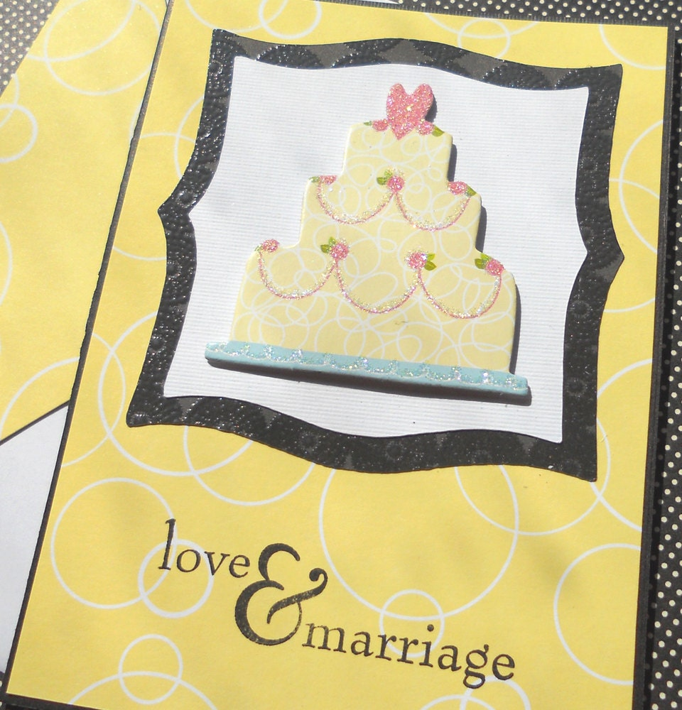 Handmade Wedding Card / Giftcard Holder with Matching Embellished Envelope - Cake and Congrats