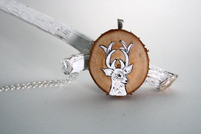 white deer necklace hand painted necklace wooden necklace