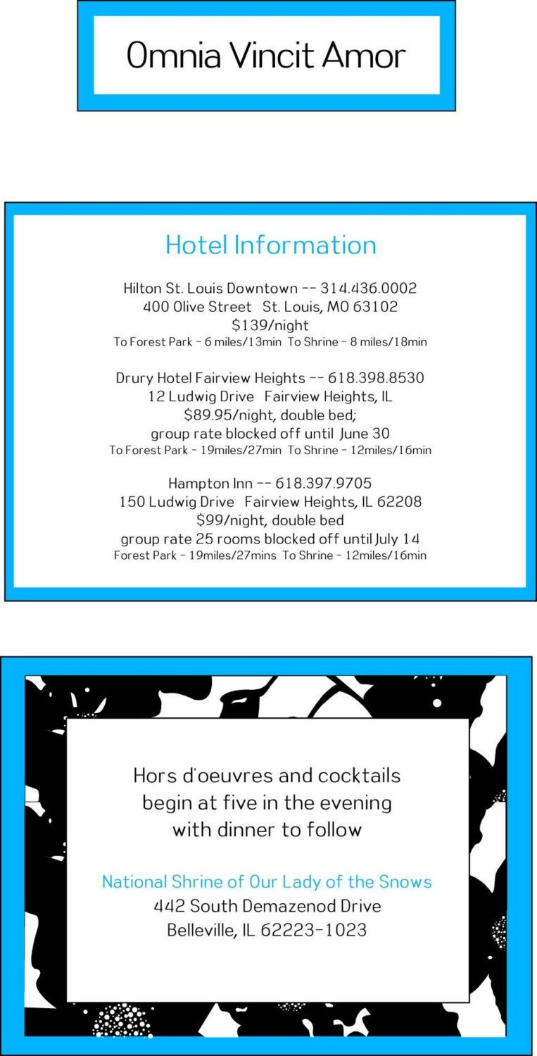 Blue Black and White Pocketfold Wedding Invitation