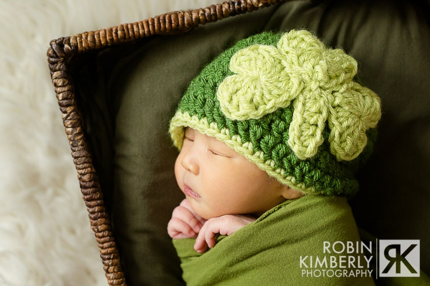 Crochet Pattern - Feelin' Lucky Shamrock Hat Newborn - Child Sizes