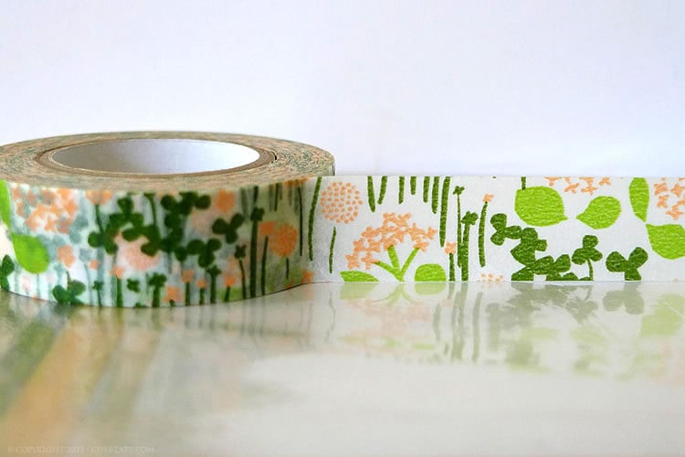Japanese Washi Tape - Little Garden GREEN and PEACH 15mm - Packaging