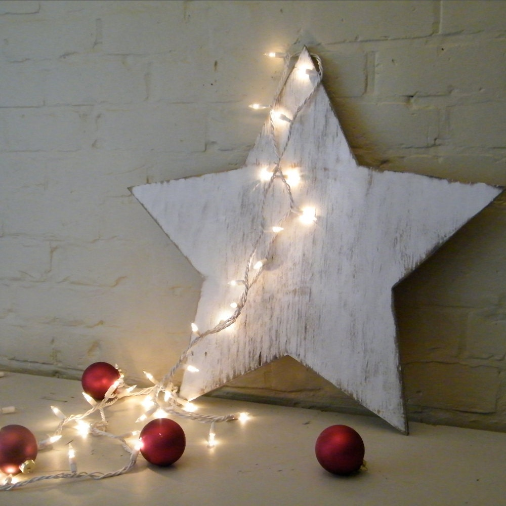 Holiday Star Wooden Star Winter Christmas Decor White Washed
