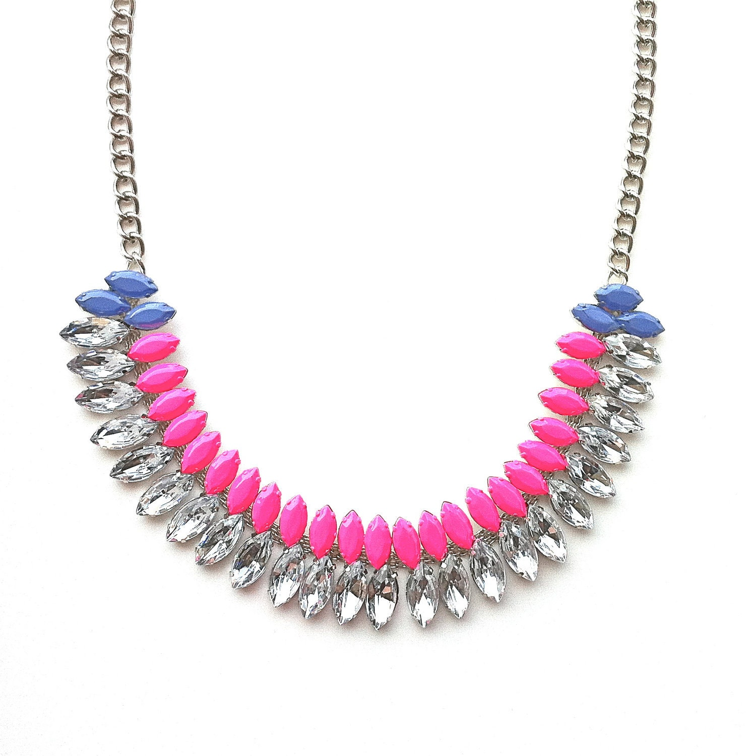 Neon Pink and Periwinkle Hand-painted Crystal Necklace