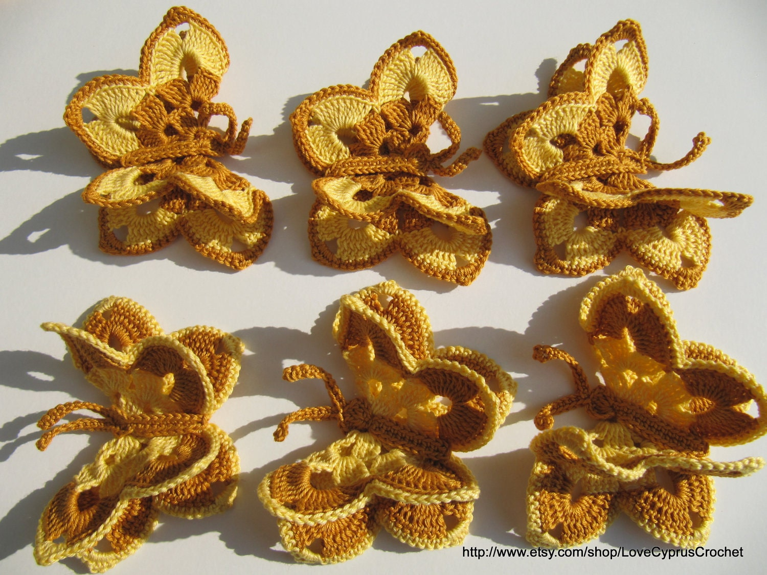 CROCHET BUTTERFLY 6 (pc) , Crochet Yellow Brown Butterfly, Crochet Easter Accessories, Cyprus Crochet Lyubava