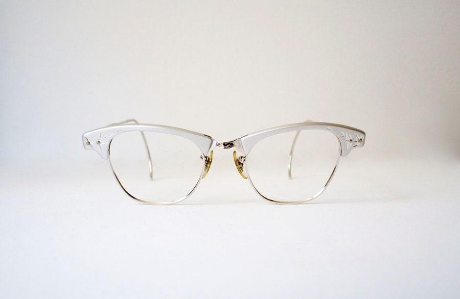 1950's Silver Cat Eye Glasses - jacksredbarn