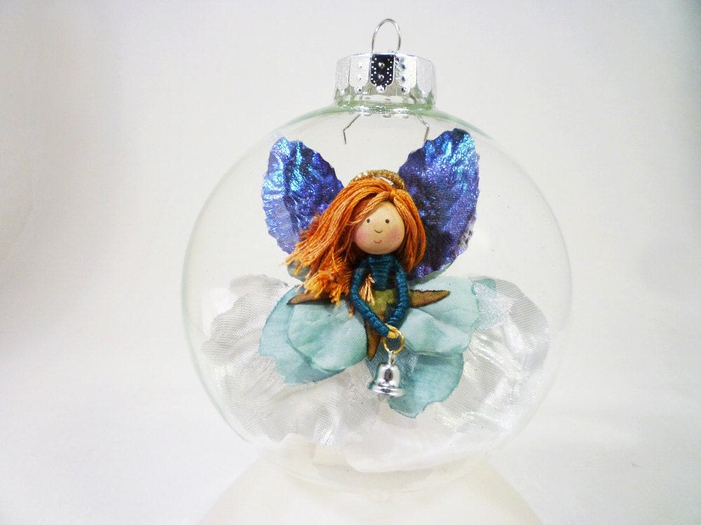 Christmas Angel Ornament Teal Blue Silver Holiday Ornaments Angel Ornaments White Winter Angels Flower Doll