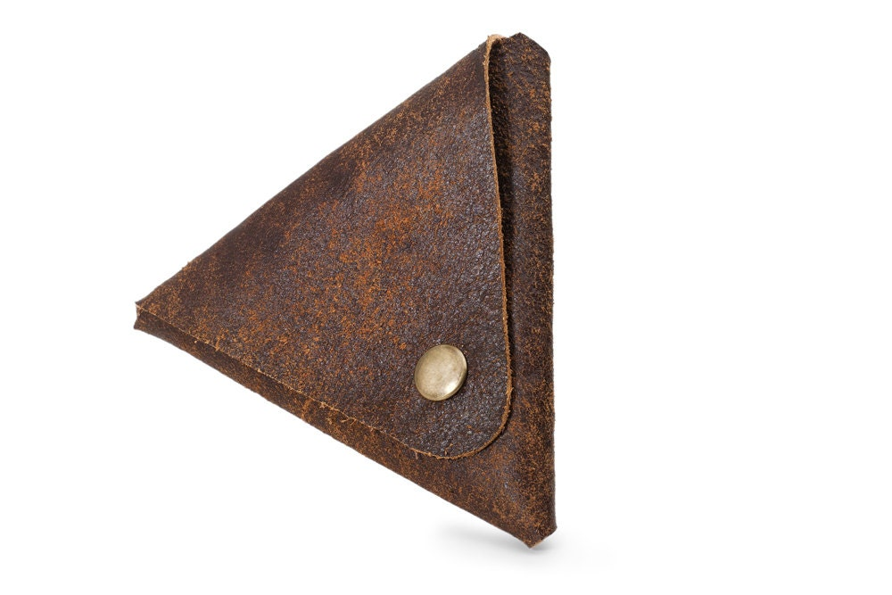 Brown leather change wallet, Triangle, Small leather wallet, Geometric, Money pouch, Unisex, Small wallet - maykobags