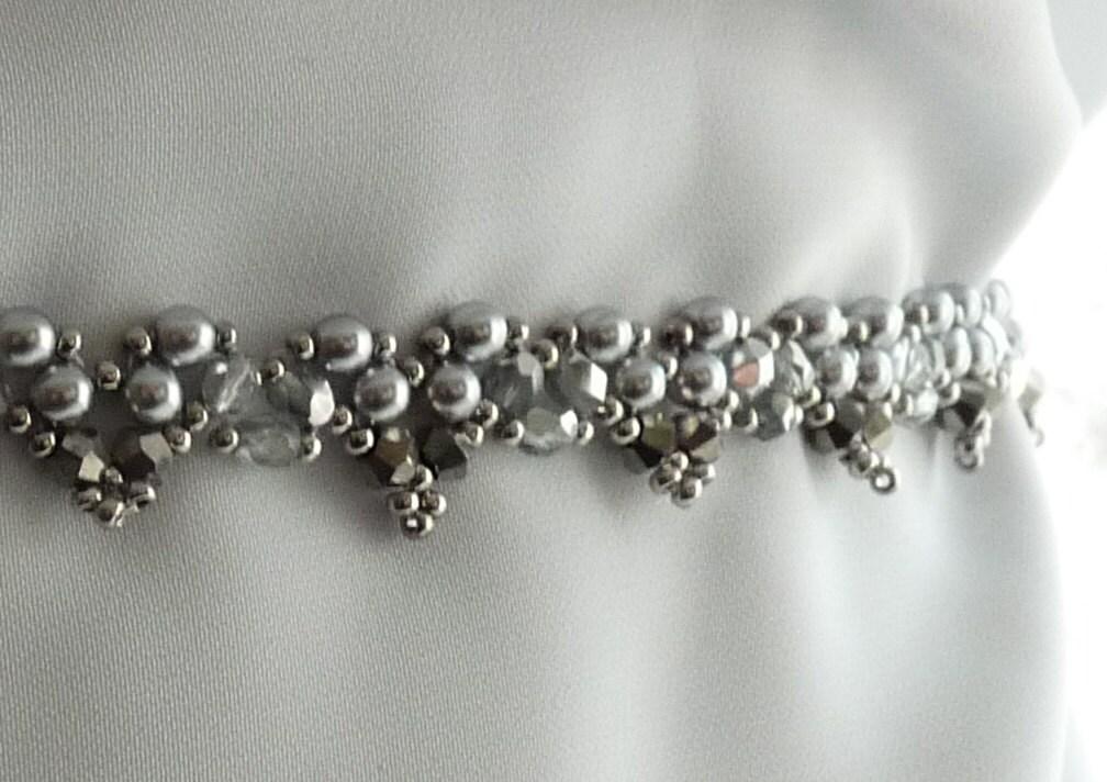 Hand Beaded Swarovski Pearl and Crystal Wedding Sash.Belt