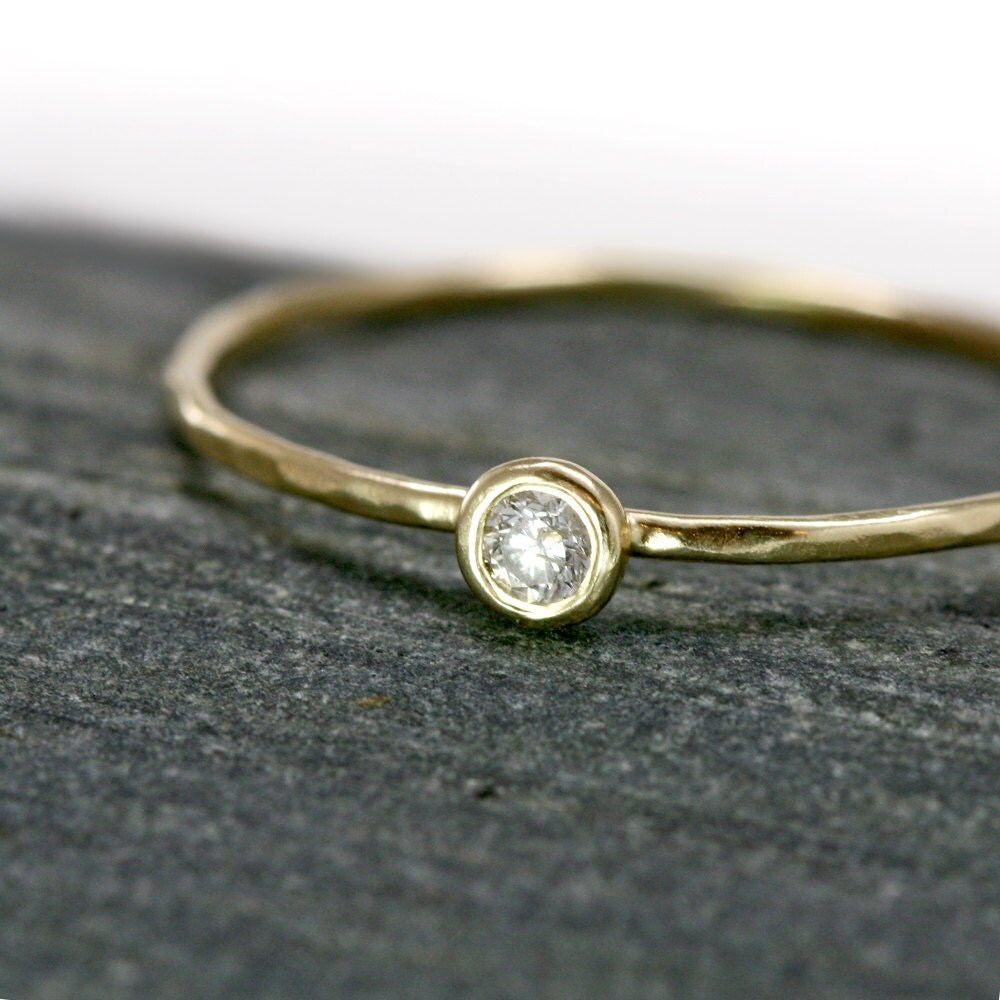 White Diamond 14k Gold Stacking Ring - Genuine Diamond in solid 14k Yellow Gold bezel setting on a thin hammered band