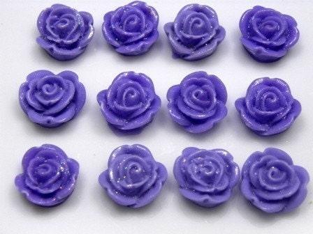 10 pcs 13mm Purple Shimmer Rose Lucite Cabochons