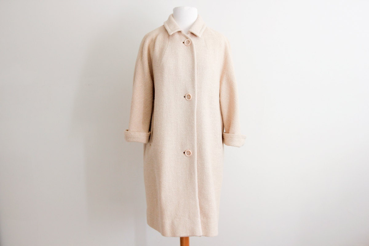 Oatmeal wool Saks swing coat // vintage womens 50s cream winter coat