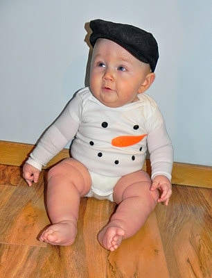 First Christmas--Snowman Outfit-Baby Clothes-Gender Neutral Outfit--Onesie-Vintage Inspired Snowman -Custom Made to Order