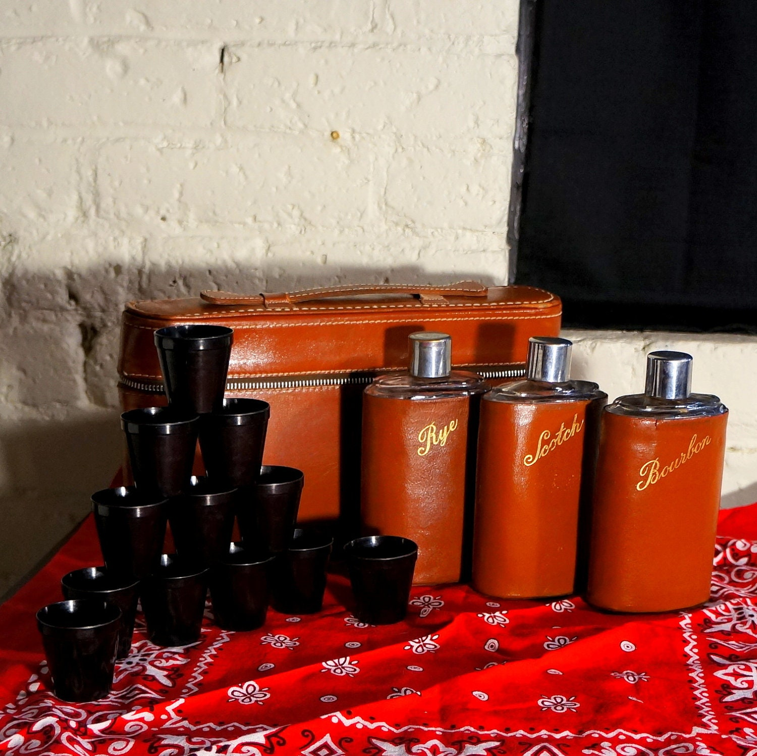1940s - 50s 14 Piece Mid Century Leather Travel Bar - 3 Flasks, 12 Bakelite Cups, Carry Case - Great Gift for Dad