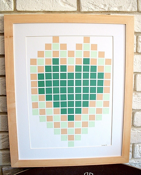handmade not a print original modern patterns home decor artwork mosaic squares heart collage valentine's day - StudioSuzanna
