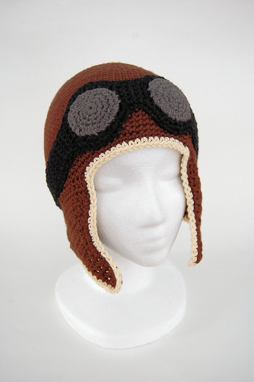crocheted aviator hat by Knot By Gran'ma