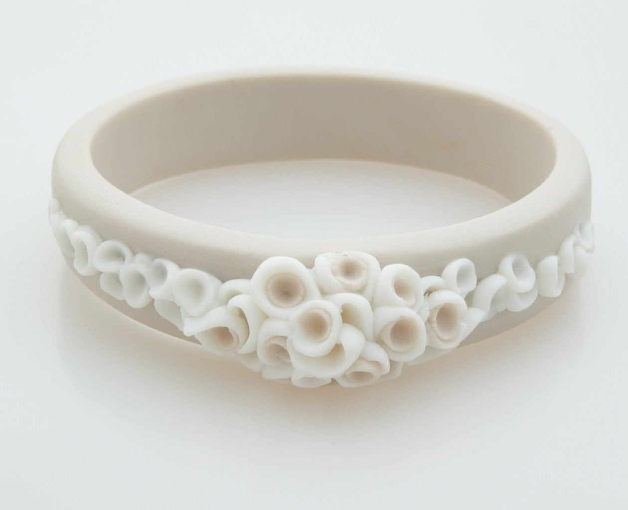 Bracelet Bangle , La Angosta Porcelain Bracelet , Ecru and White