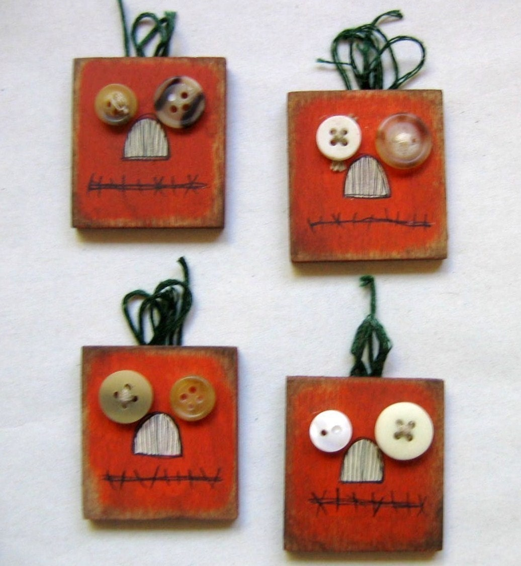 Tole Painted Primitive and Rustic Orange Pumpkin Pins - barbsheartstrokes