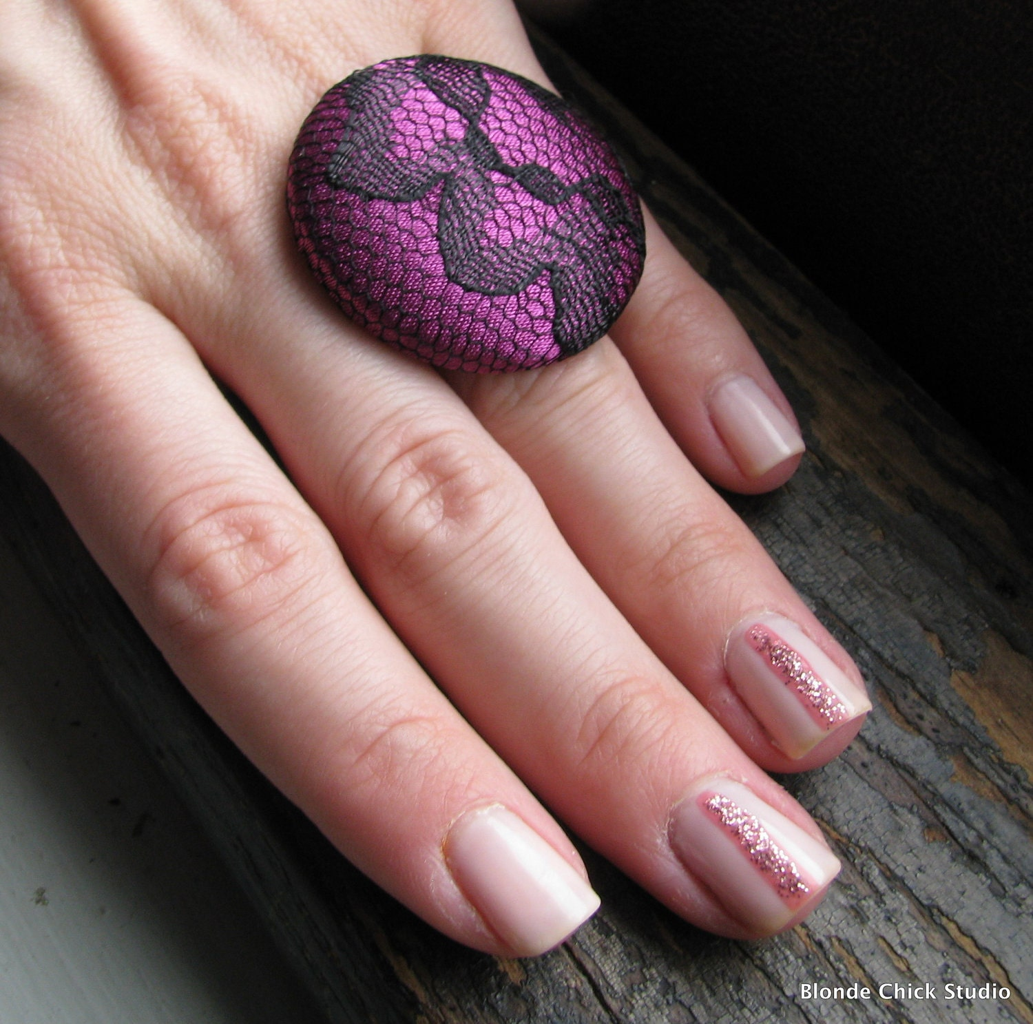 DECO RING no.47-Purple Silk Fabric with Black Lace Overlay Ring