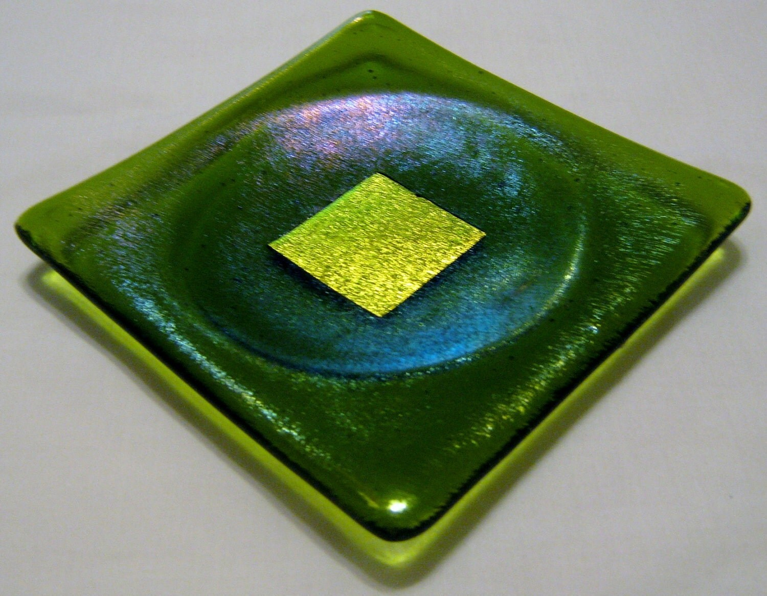 VERDE ORO  Kiln-Formed Artisan Fused Glass Dish