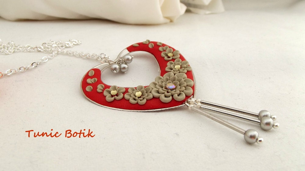 Orange Red Heart Clay Floral Necklace  Polymer Clay Jewellery  Garden Pendant - TunicBotik