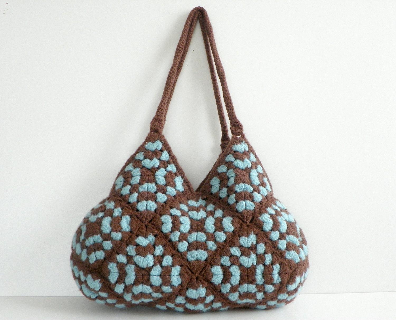 NzLbags-Новая Сумочка - войлочная сумочка Вязаные шерстяные - Brown & Бирюза - Nr-0182