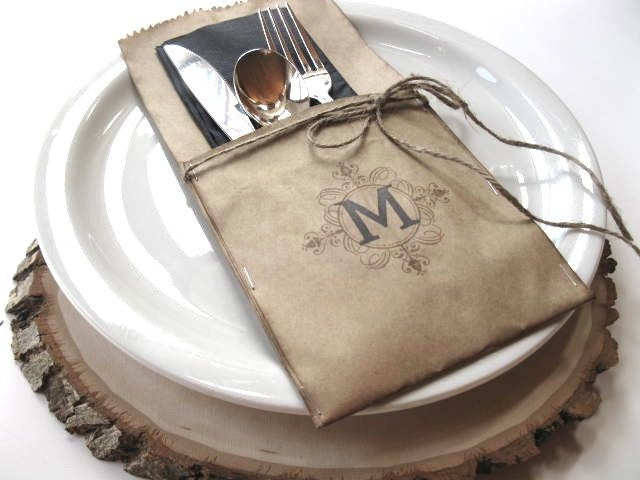 Silverware Pockets - MONOGRAMMED - set of 50 - wedding table, wedding dinner, bridal shower,reunion