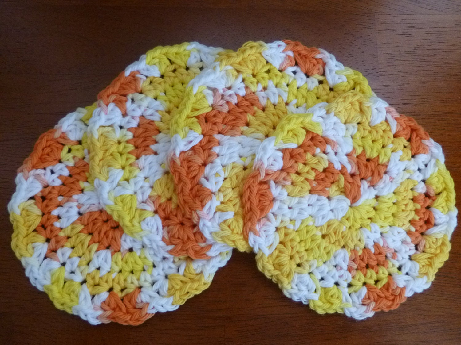 Crochet Candy Corn Coasters Set of Four
