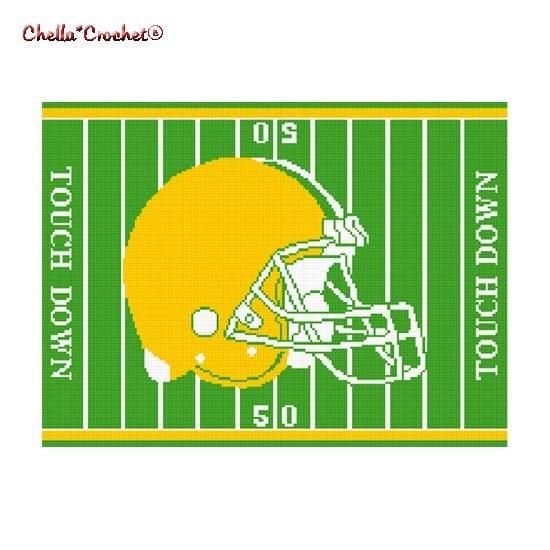 Chella Crochet Pattern Football Helmet on Field Green Yellow Gold Pattern Afghan Graph Chart. .PDF - chellacrochet