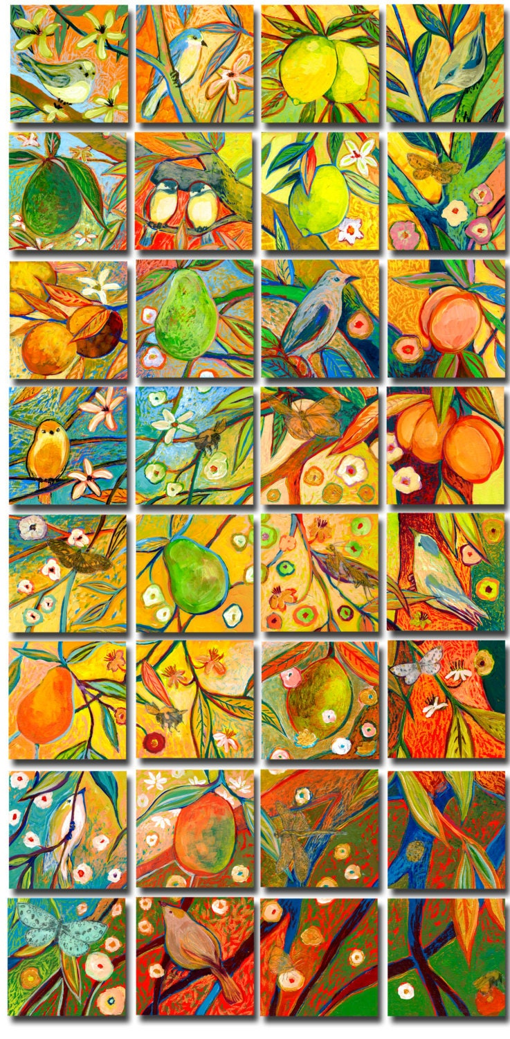 Wish Upon a Rainbow Tree - The Complete Set - Limited Edition Reproductions on 5 x 5 Bamboo Panel