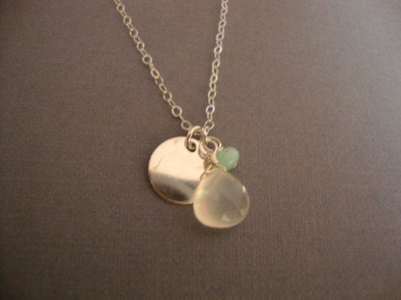 misty necklace - chalcedony and smaller chrysophase stone - sterling silver chain - small gemstone jewelry