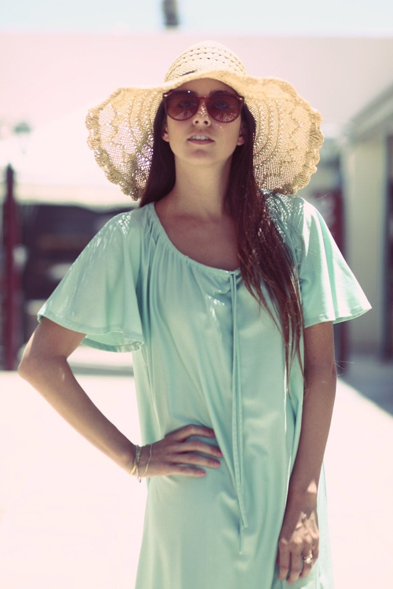 Seafoam Green Pastel Spring Summer Peasant Hippie House Dress - Mary Mary - BadJamesVintage